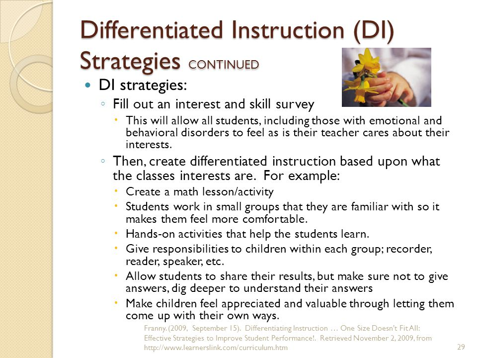Differentiated Instruction (DI) Strategies CONTINUED