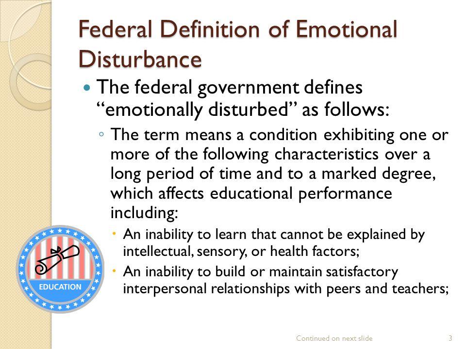 Federal Definition of Emotional Disturbance