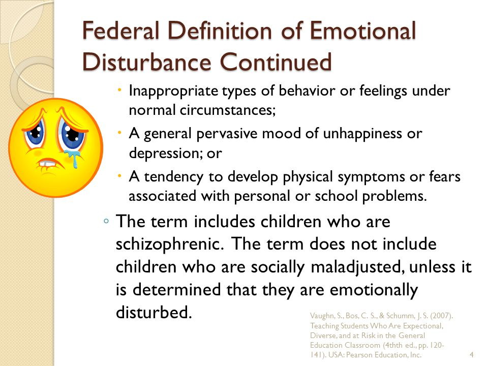Federal Definition of Emotional Disturbance Continued