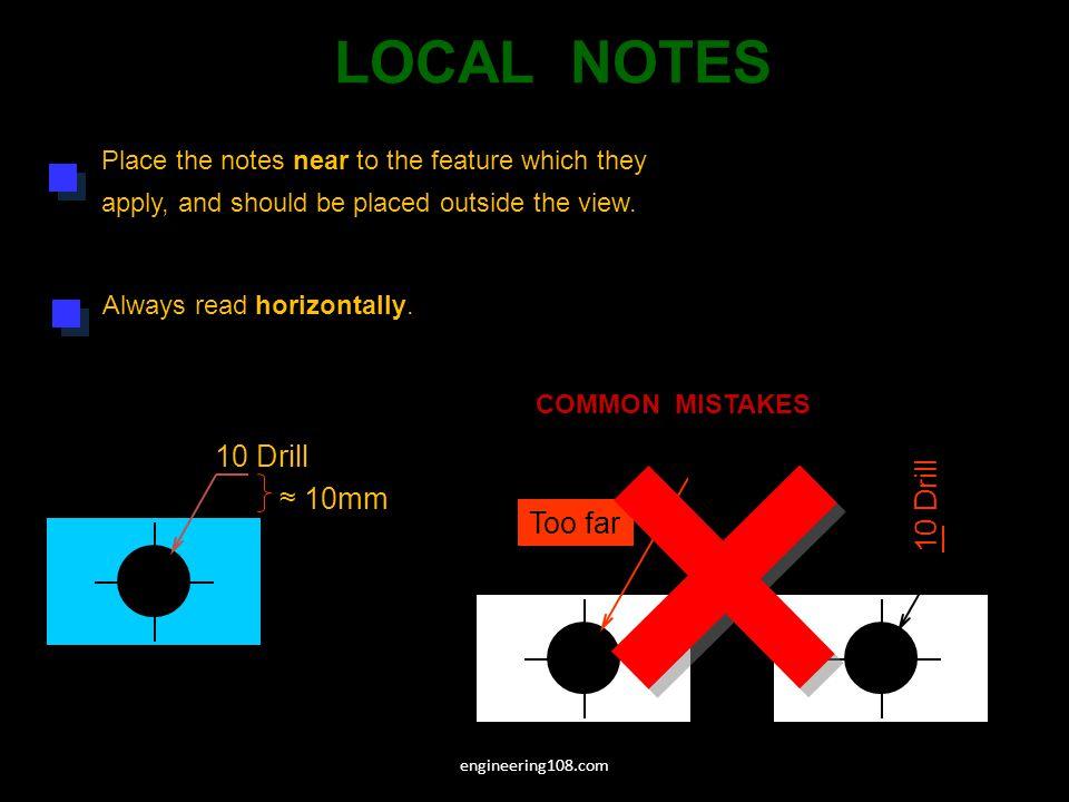 LOCAL NOTES 10 Drill 10 Drill 10 Drill ≈ 10mm Too far