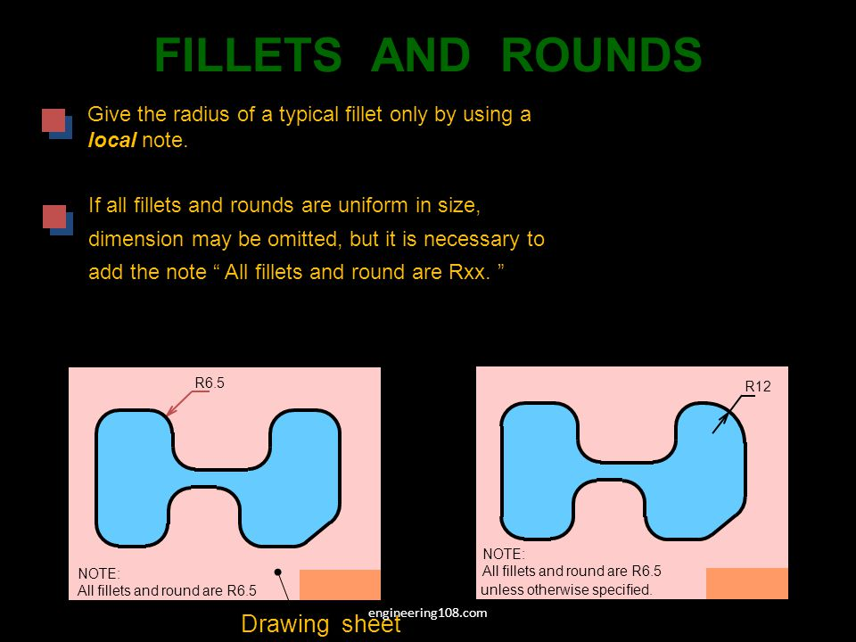 FILLETS AND ROUNDS Drawing sheet