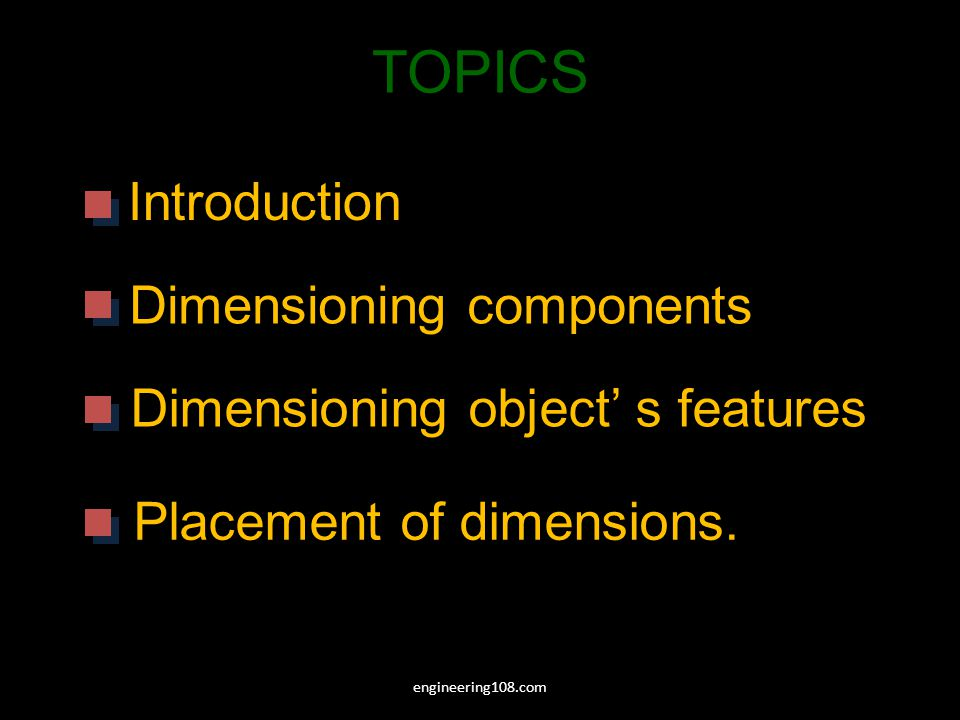 TOPICS Introduction Dimensioning components