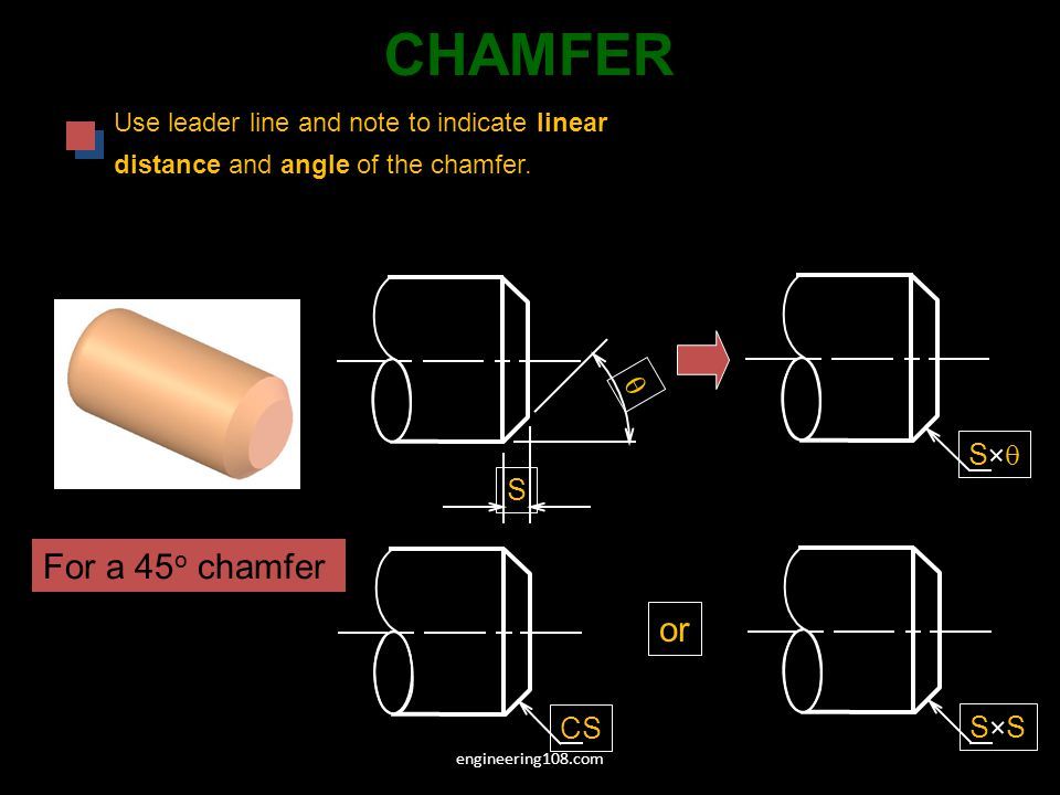 CHAMFER For a 45o chamfer or q S q S CS S S