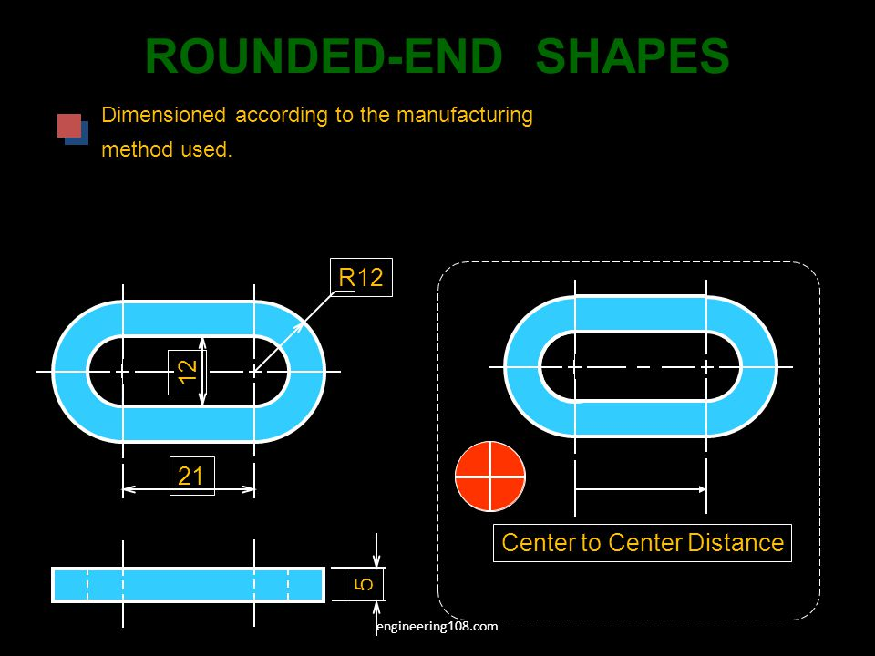 ROUNDED-END SHAPES R12 12 21 Center to Center Distance 5