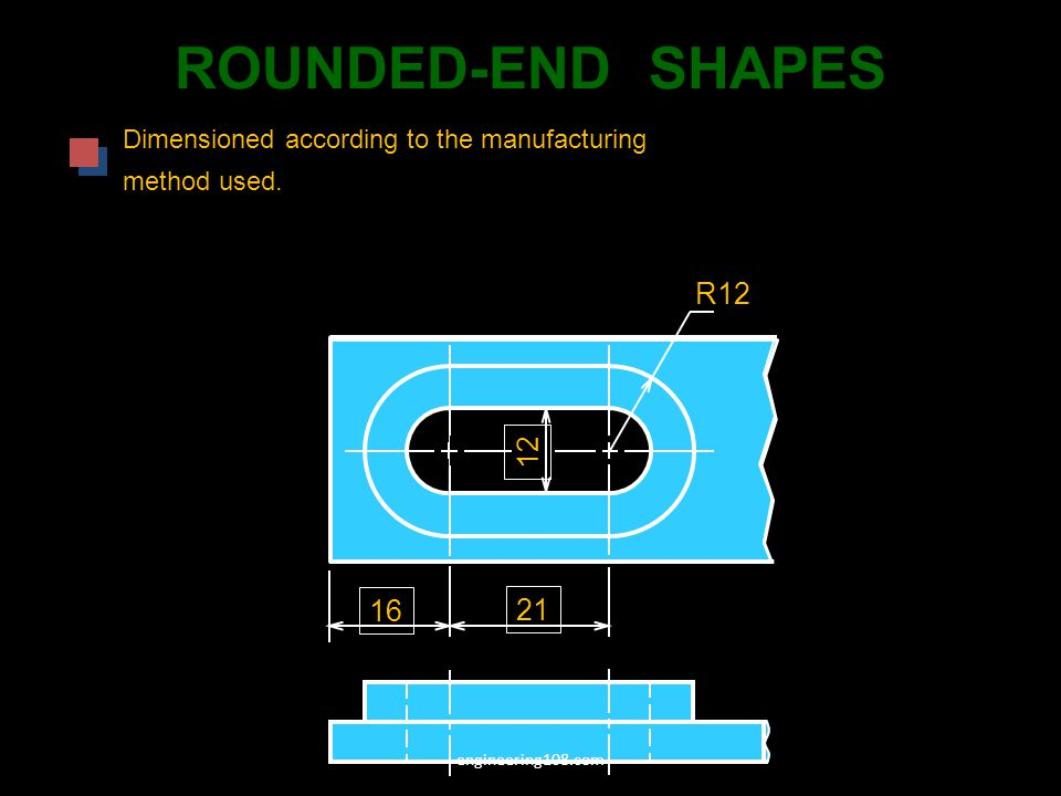 ROUNDED-END SHAPES Dimensioned according to the manufacturing.