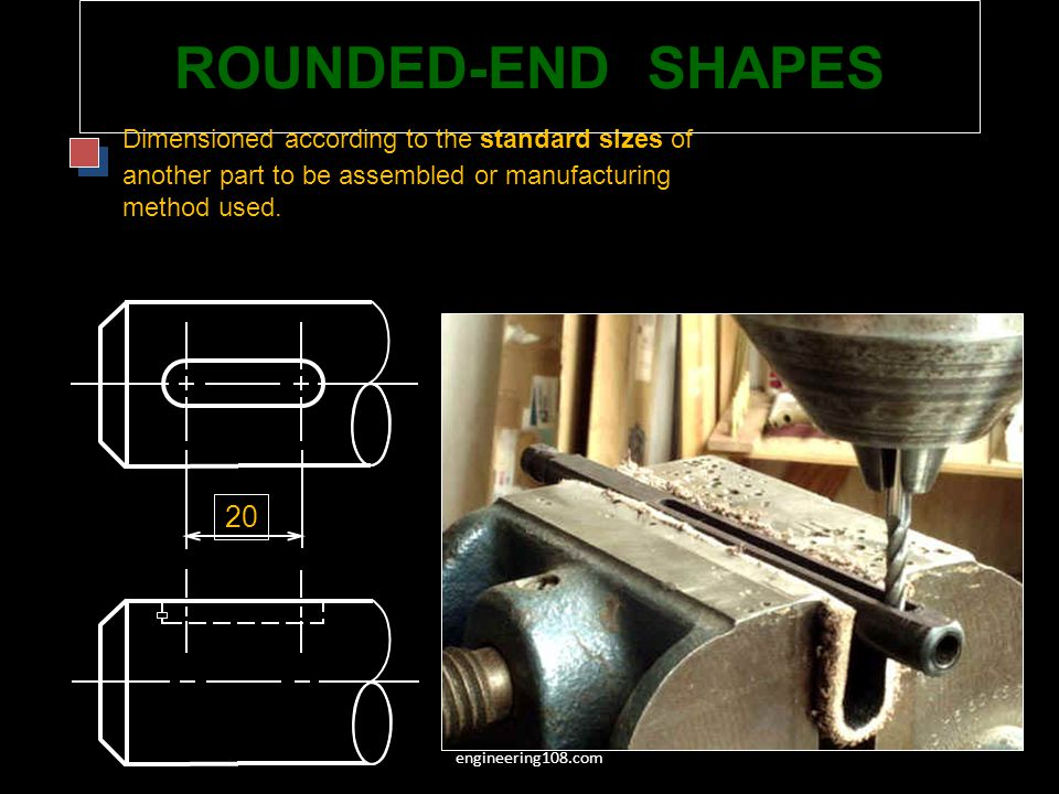 ROUNDED-END SHAPES 20 Dimensioned according to the standard sizes of