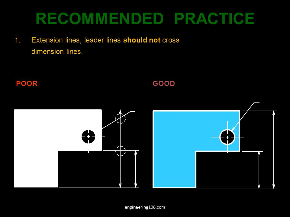 RECOMMENDED PRACTICE Extension lines, leader lines should not cross dimension lines. POOR. GOOD.