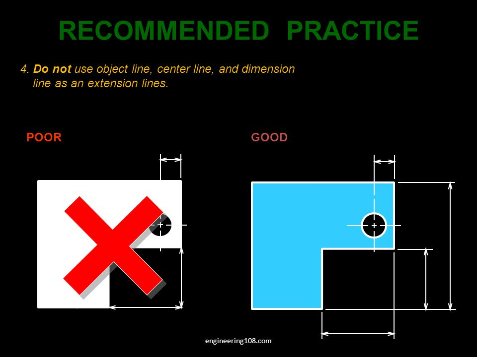 RECOMMENDED PRACTICE 4. Do not use object line, center line, and dimension line as an extension lines.
