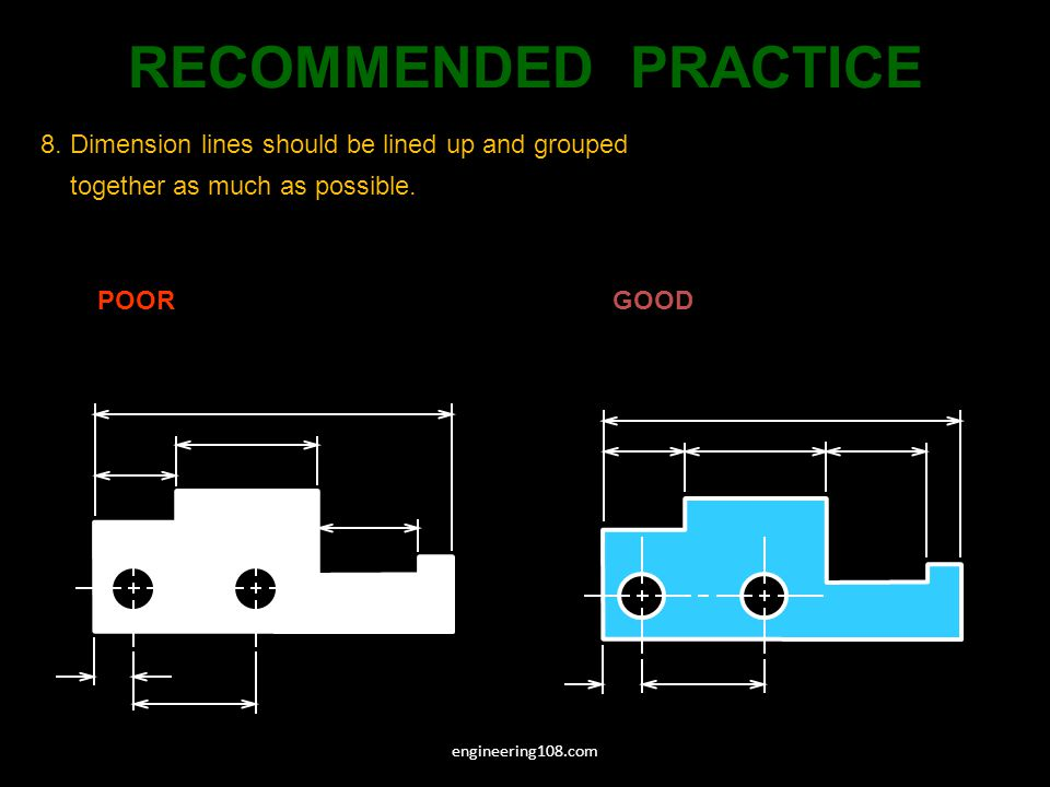 RECOMMENDED PRACTICE 8. Dimension lines should be lined up and grouped together as much as possible.