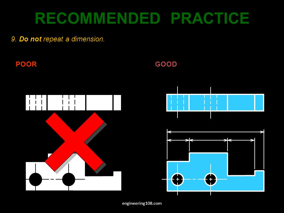 RECOMMENDED PRACTICE 9. Do not repeat a dimension. POOR GOOD