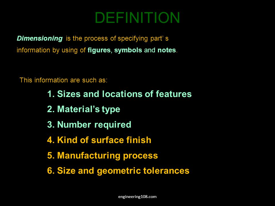 DEFINITION 1. Sizes and locations of features 2. Material's type