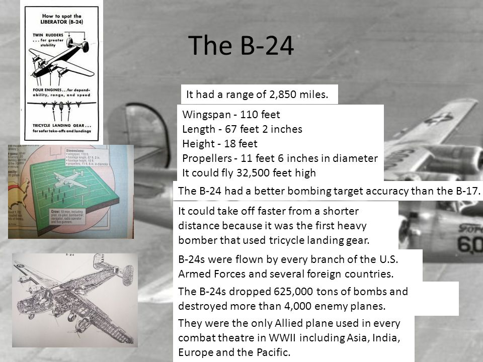 The B-24 It had a range of 2,850 miles.