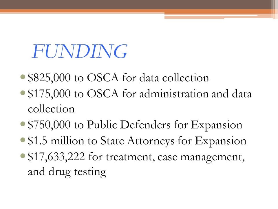 FUNDING $825,000 to OSCA for data collection