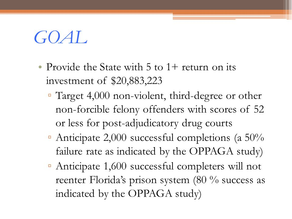 GOAL Provide the State with 5 to 1+ return on its investment of $20,883,223.