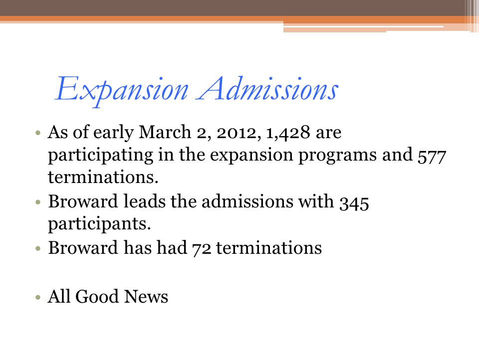 Expansion Admissions As of early March 2, 2012, 1,428 are participating in the expansion programs and 577 terminations.