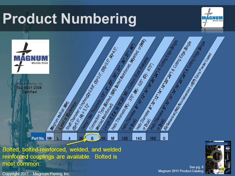 Product Numbering Bolted, bolted-reinforced, welded, and welded reinforced couplings are available. Bolted is most common.