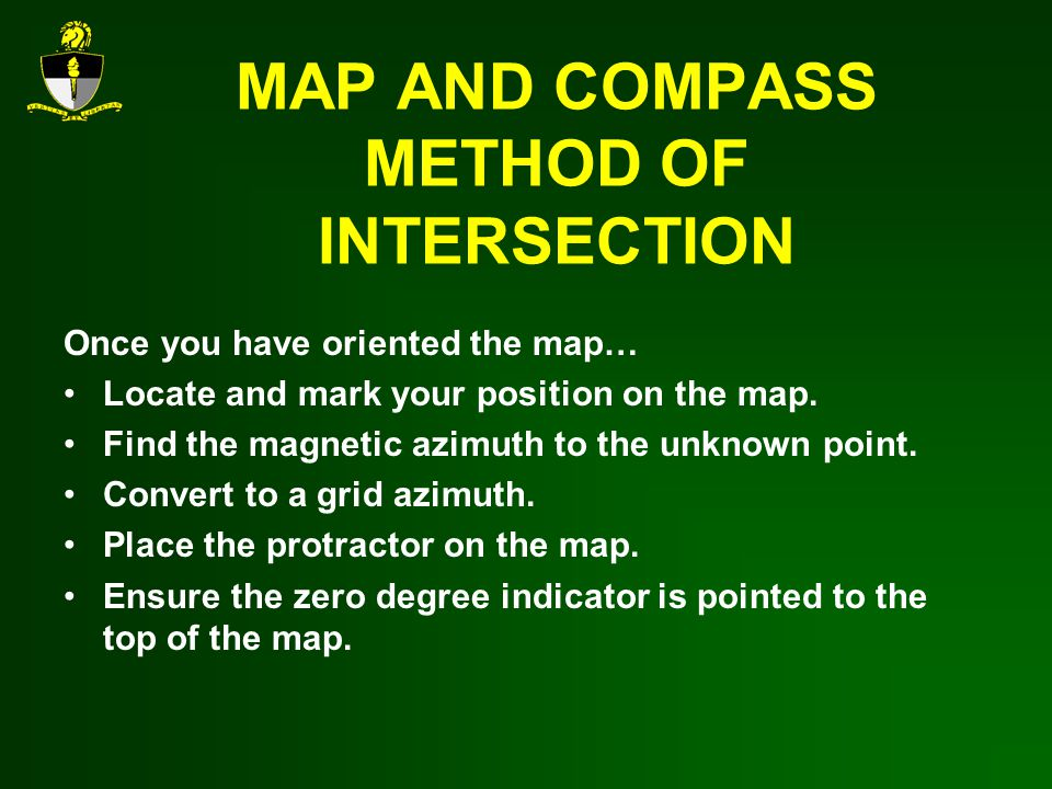 MAP AND COMPASS METHOD OF INTERSECTION