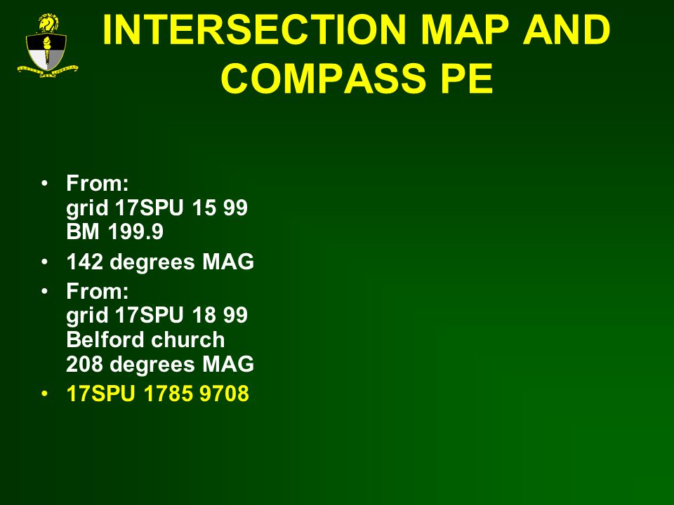 INTERSECTION MAP AND COMPASS PE