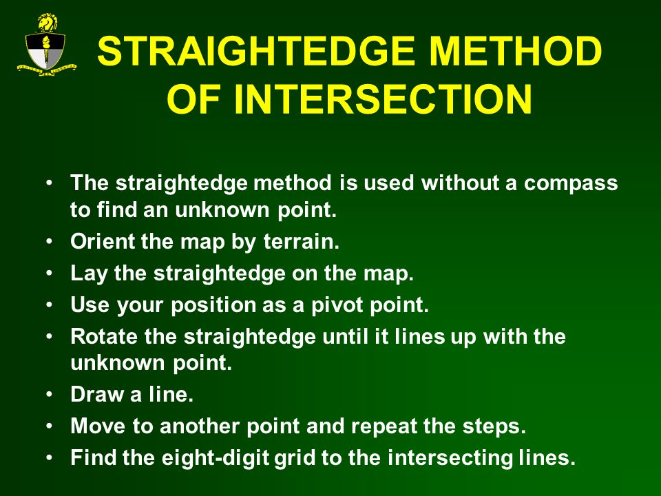 STRAIGHTEDGE METHOD OF INTERSECTION