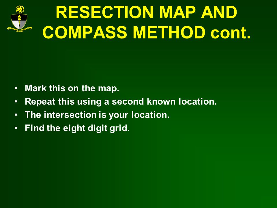 RESECTION MAP AND COMPASS METHOD cont.