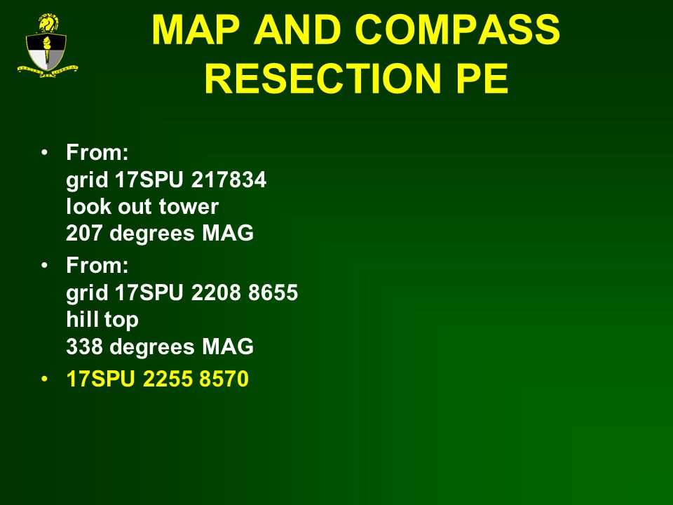 MAP AND COMPASS RESECTION PE
