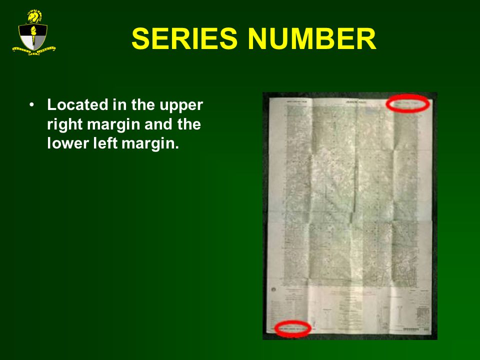 SERIES NUMBER Located in the upper right margin and the lower left margin.