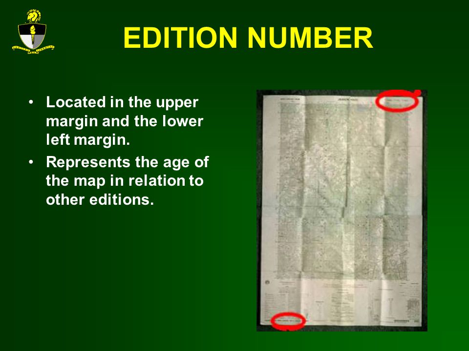 EDITION NUMBER Located in the upper margin and the lower left margin.