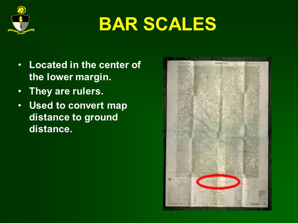 BAR SCALES Located in the center of the lower margin. They are rulers.