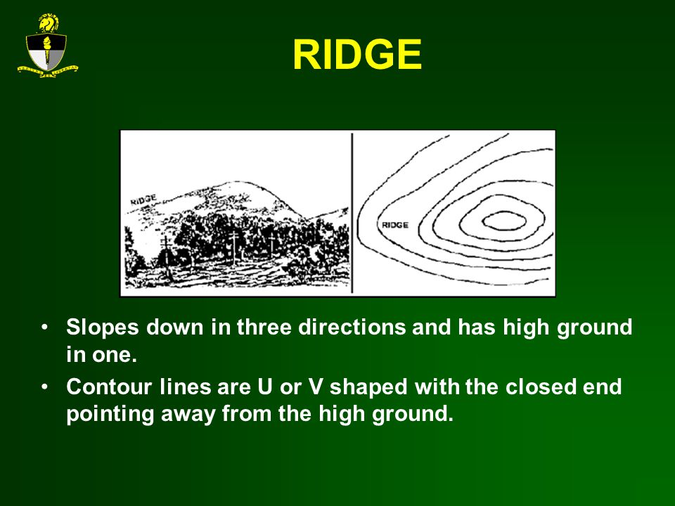 RIDGE Slopes down in three directions and has high ground in one.