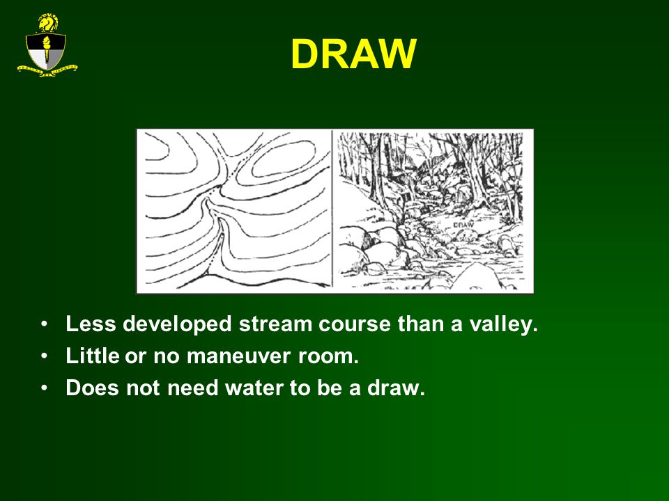 DRAW Less developed stream course than a valley.