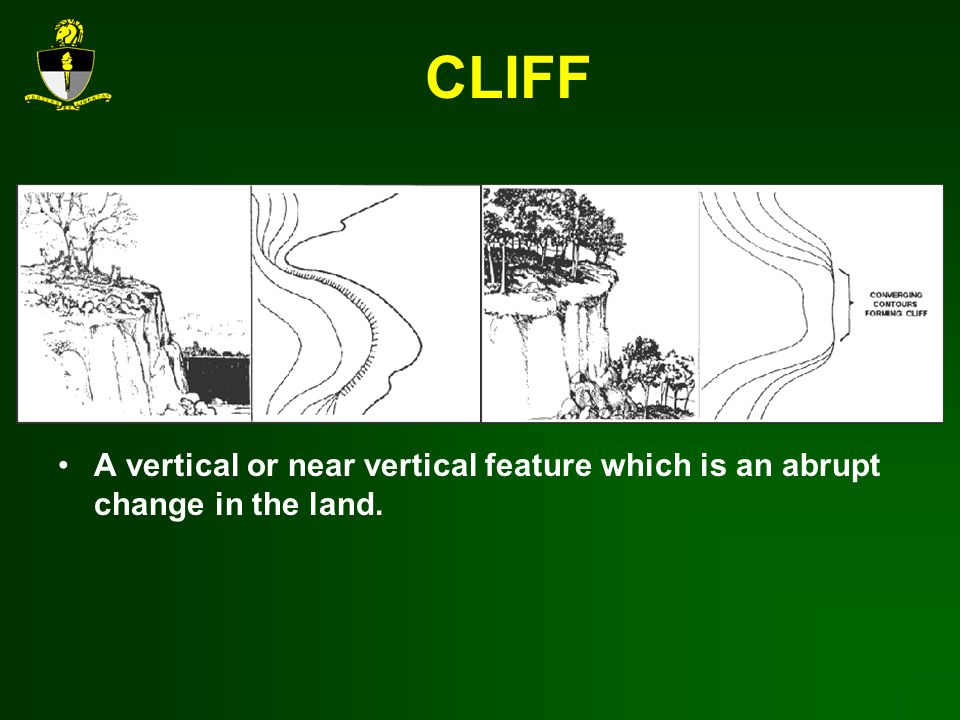 CLIFF A vertical or near vertical feature which is an abrupt change in the land.