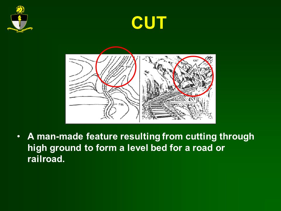 CUT A man-made feature resulting from cutting through high ground to form a level bed for a road or railroad.