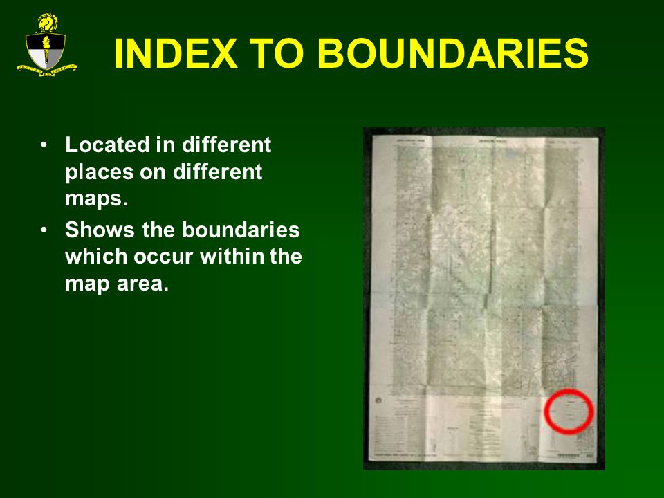 INDEX TO BOUNDARIES Located in different places on different maps.