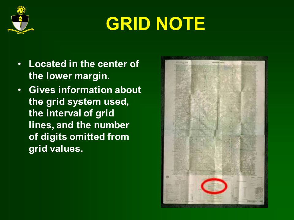 GRID NOTE Located in the center of the lower margin.