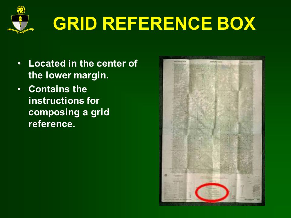 GRID REFERENCE BOX Located in the center of the lower margin.