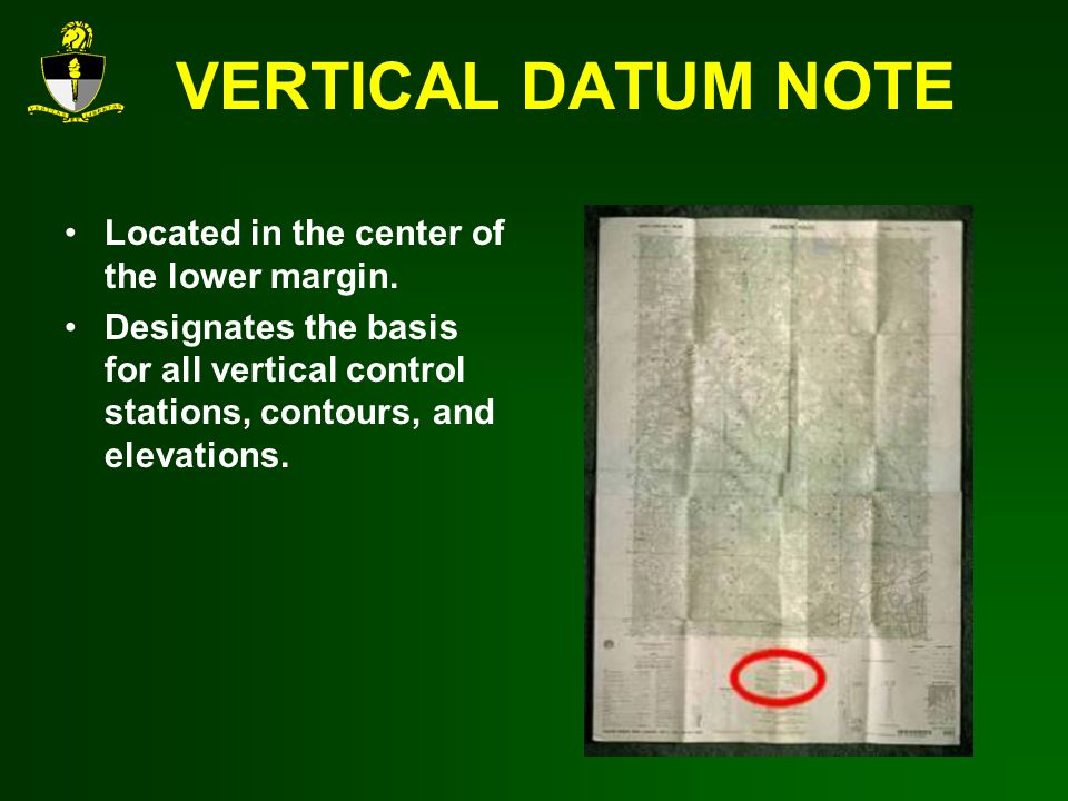 VERTICAL DATUM NOTE Located in the center of the lower margin.