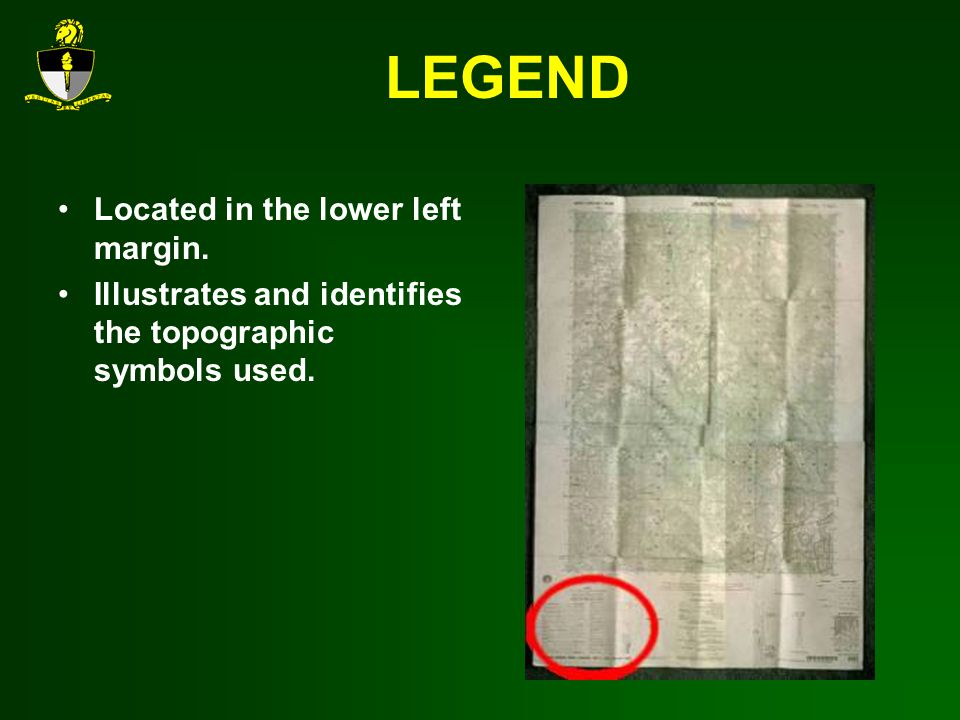 LEGEND Located in the lower left margin.