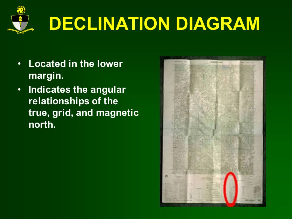 DECLINATION DIAGRAM Located in the lower margin.