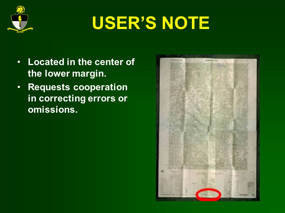 USER'S NOTE Located in the center of the lower margin.