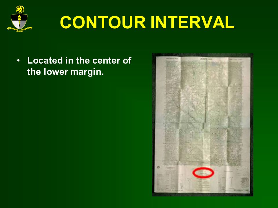 CONTOUR INTERVAL Located in the center of the lower margin.