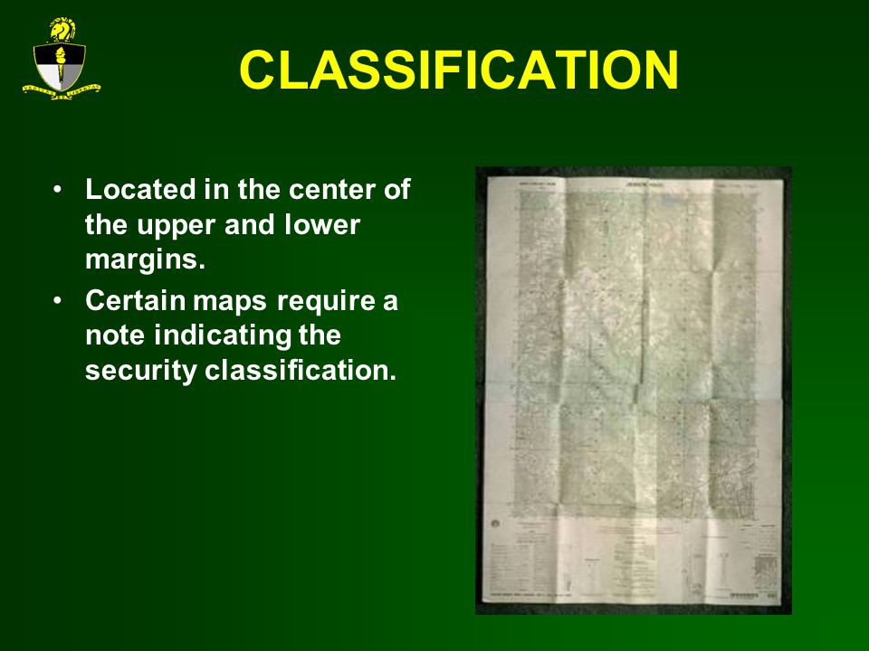 CLASSIFICATION Located in the center of the upper and lower margins.