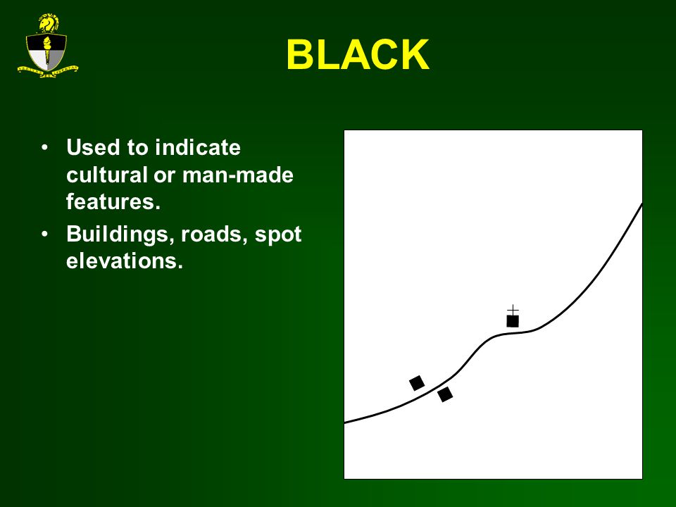 BLACK Used to indicate cultural or man-made features.