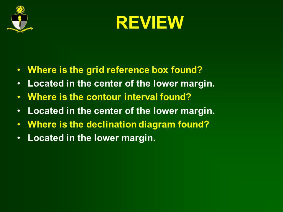 REVIEW Where is the grid reference box found