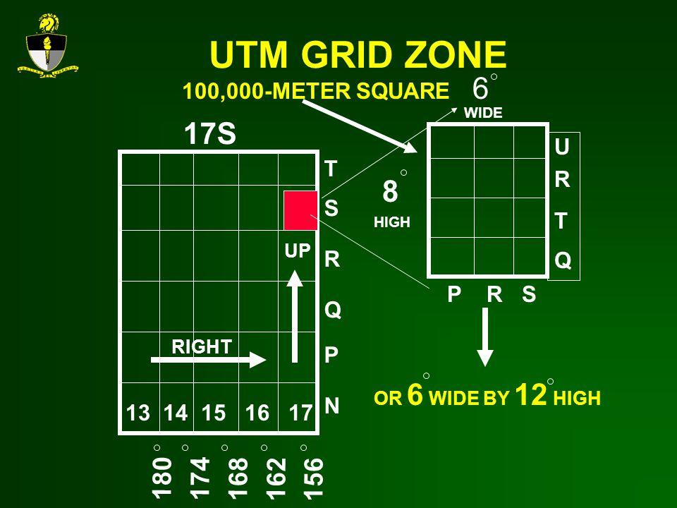 UTM GRID ZONE 6 17S 8 180 174 168 162 156 100,000-METER SQUARE U R T T