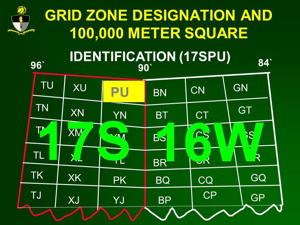 GRID ZONE DESIGNATION AND 100,000 METER SQUARE