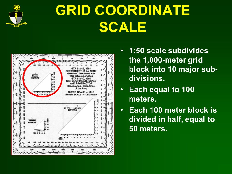 GRID COORDINATE SCALE 1:50 scale subdivides the 1,000-meter grid block into 10 major sub-divisions.