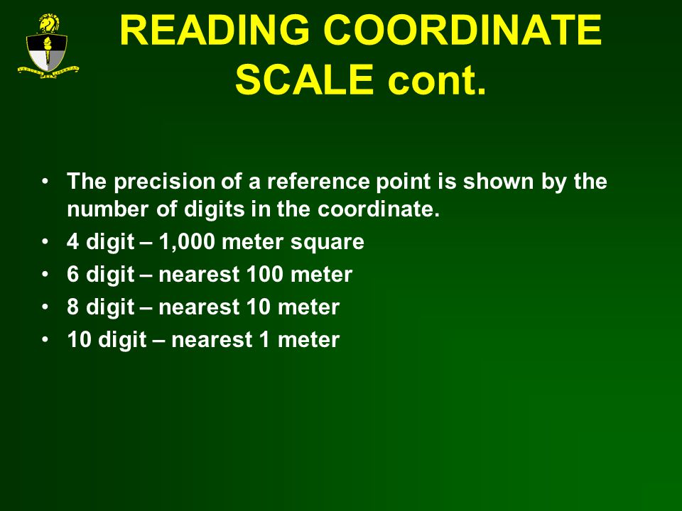 READING COORDINATE SCALE cont.