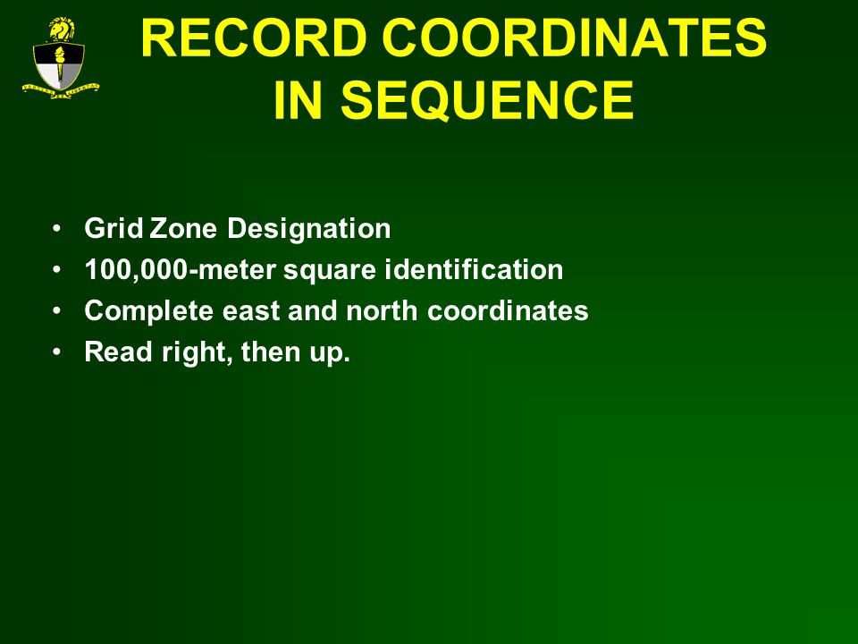 RECORD COORDINATES IN SEQUENCE