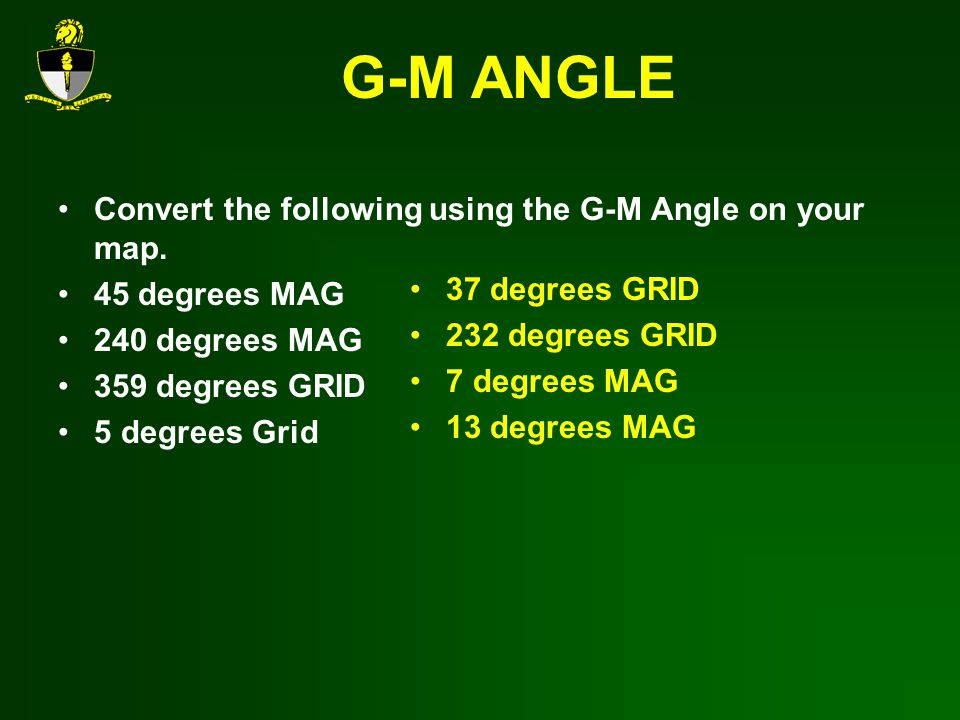 G-M ANGLE Convert the following using the G-M Angle on your map.