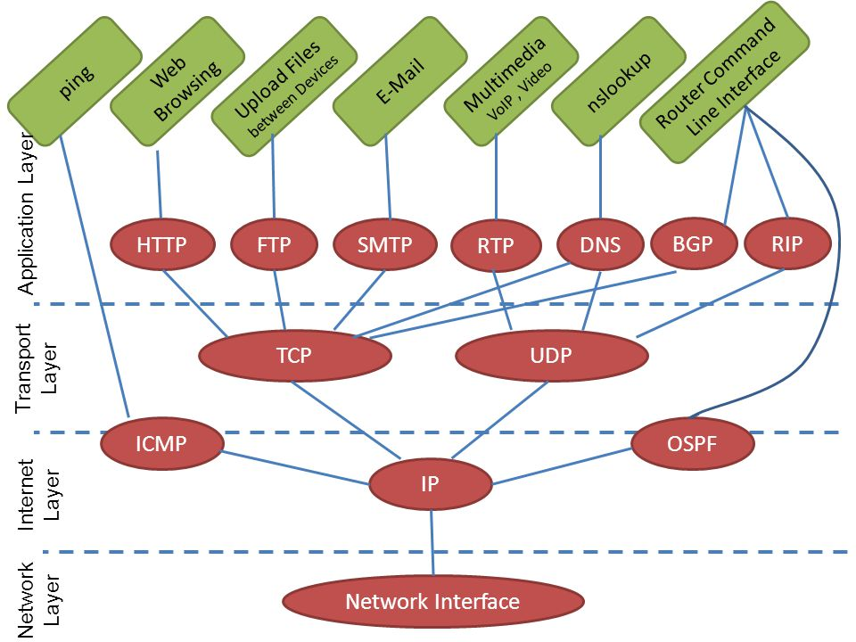 HTTP FTP SMTP RTP DNS BGP RIP TCP UDP ICMP OSPF IP Network Interface